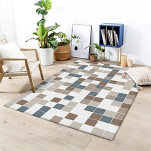 Modern Fashion abstract geometric Blue brown small squares Bedroom living room floor mat Bedside carpet plush rug custom made