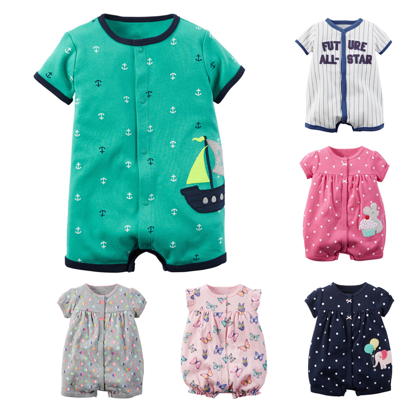 Baby Rompers Summer Baby Boy Clothes Cotton Baby Girl Clothes Roupas Bebe Short Sleeve Fashion 2018 Cartoon Infant Jumpsuits