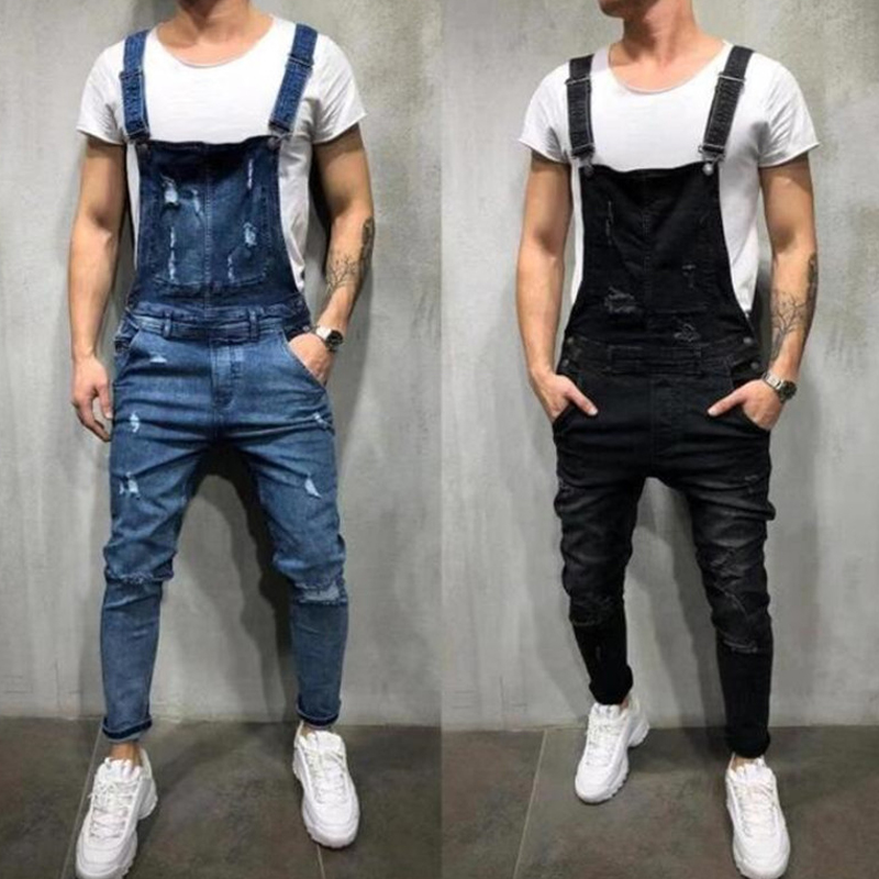 2019 New Style Men's Ripped   Jeans   Jumpsuits Hi Street Distressed Denim Bib Overalls For Man Suspender Pants