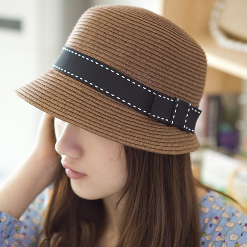 2017 Summer style Accessories Fashion small straw hat for women Cute Ladies  travel straw hat Bowknot Cap sun hats NXH1640-in Sun Hats from Apparel ... 1f9ab0a4ff2