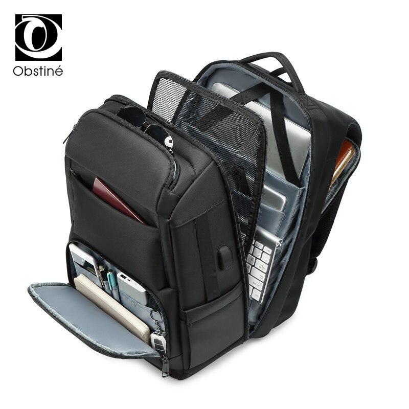 Sac à dos de luxe pour hommes d'affaires pour voyage sacs à dos d'ordinateur portable de 17 pouces pour hommes sac à dos anti-vol sac à dos mâle usb cartable - 3