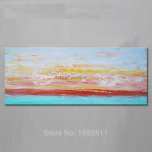 Dusk in Seaside Acrylic Paint Home Decoration Oil Painting on canvas hight Quality Hand-painted Wall Art 24X48 inch ,36X72