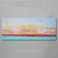 Dusk in Seaside Acrylic Paint Home Decoration Oil Painting on canvas hight Quality Hand painted Wall Art 24X48 inch ,36X72 inch