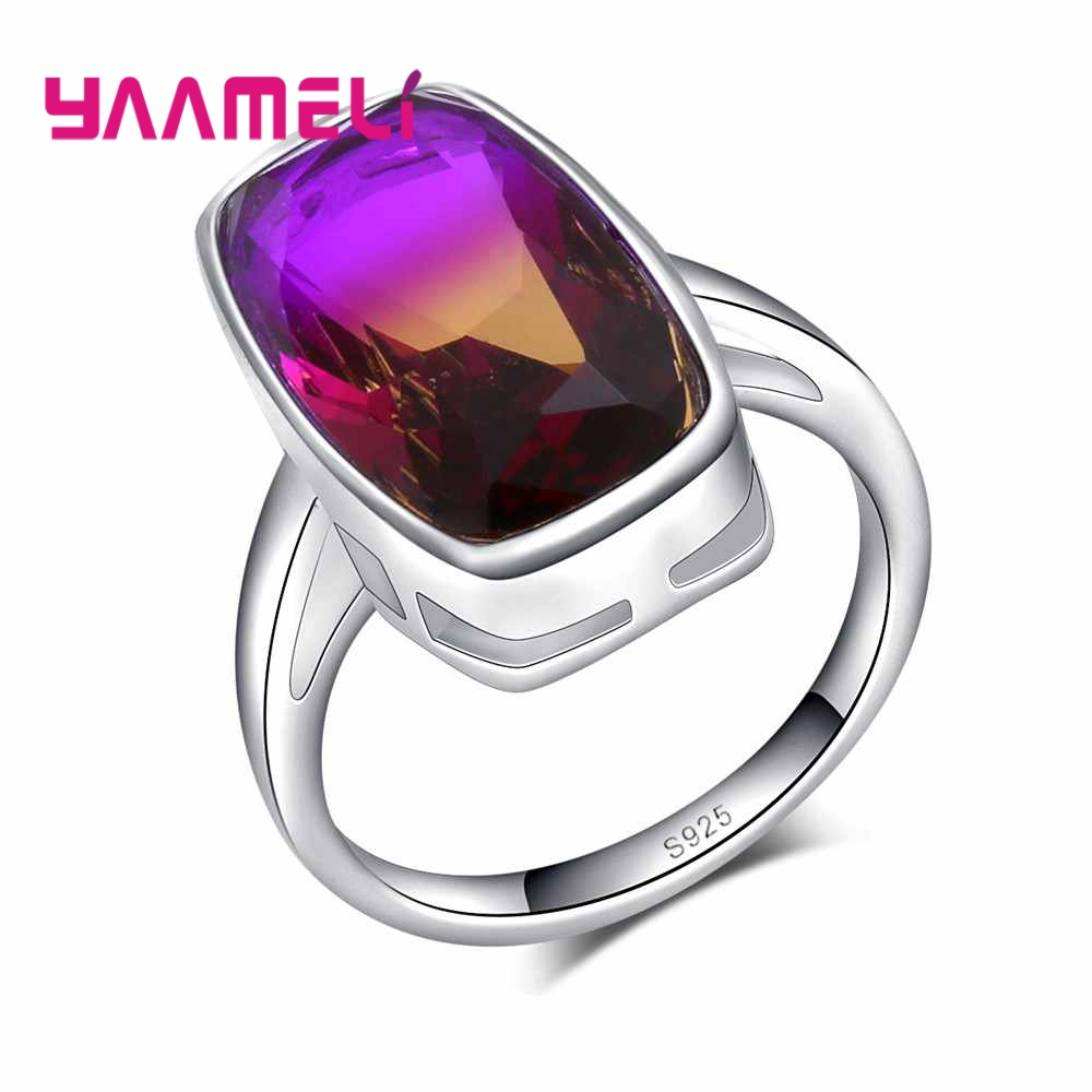 YAAMELI Unique Rainbow Zircons 925 Sterling Silver Rings For Women Wedding Party Jewelry Big Austrian Crystal Engagement Anillos