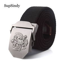 SupSindy canvas belt Russian National Emblem Alloy buckle mi