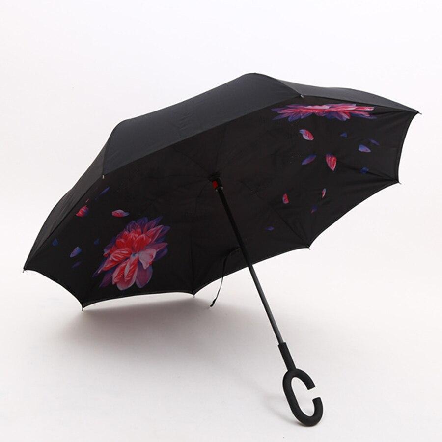 Parapluie créatif à Double inversion de voiture se dresse ombrage coloré parapluie réversible Sombrinhas Parasol fait main parapluies de pluie 60D0298