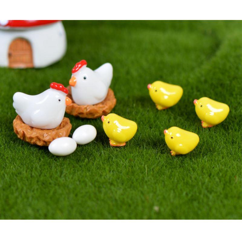 1 Set Mini Resine Chicken Coop/Hen/Eggs/Chick Figurines Miniature Home & Garden Art Craf ...