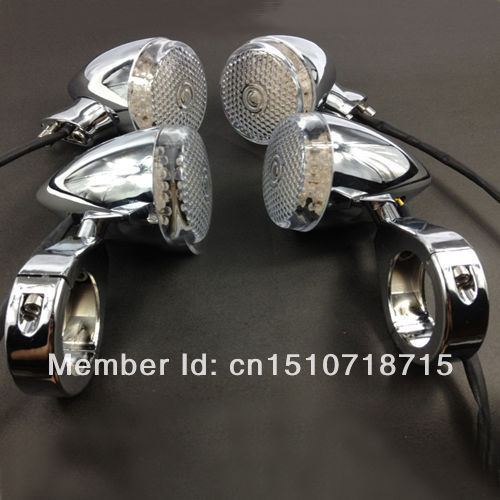 Free Shipping 4x LED 41MM Motorcycle Chrome Turn Signal Indicator Light For Harley Chopper Cafe Racer купить недорого в Москве