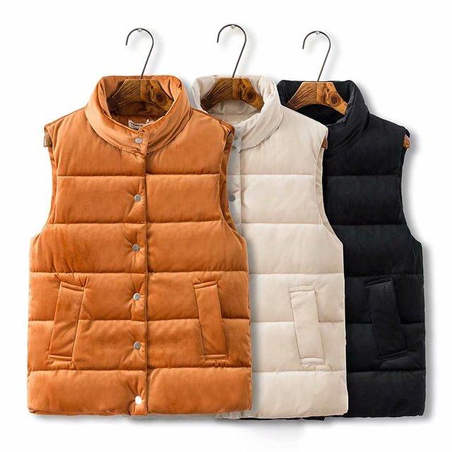 c7147e0e4dc Plus size Stand collar Short thick women velour coat vest 2018 winter jacket  female solid black