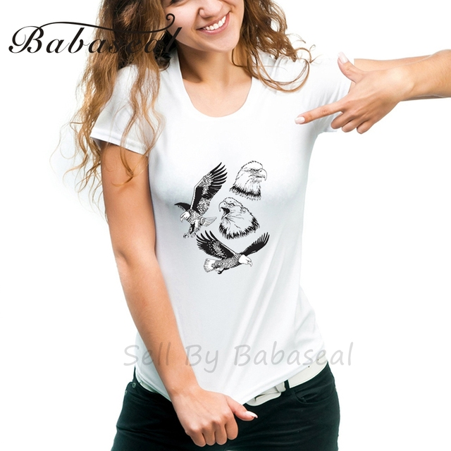 Babaseal Four Drawings Of Eagle Fashion Funny T Shirts Love Pink Woman Tshirt Top Tumblr Summer