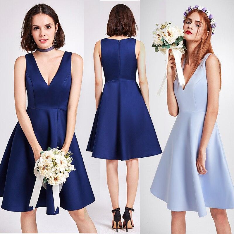 קוקטייל שמלות שרוולים פעם די גבוהה נמוך מעל הברך סימטרי Hem עגול צוואר סאטן קוקטייל חתונת מפלגה שמלות