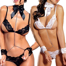 Women Lady Sexy Siamesed Lingerie Charming Lace Prisoner Perspective Underwear