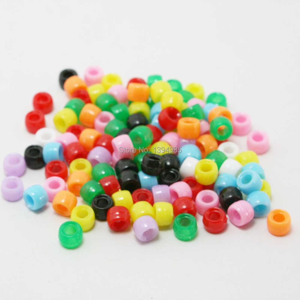 Farklı Boyut 100-500 adet/torba Karışık Büyük Delik Kübik Boncuk Akrilik Spacer Glitter Tezgah Bant Bilezik DIY Zanaat takı Yapımı