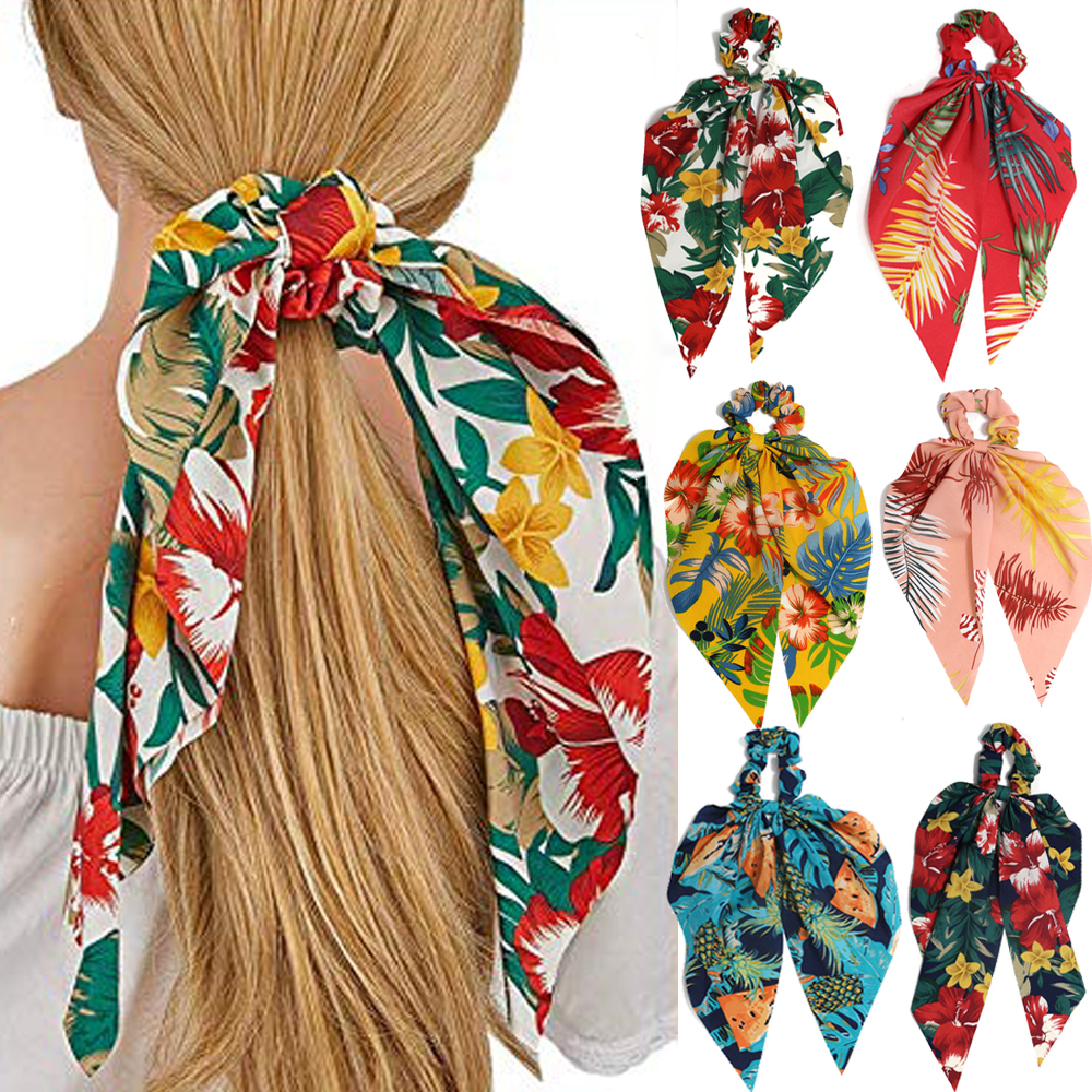 Bohemian Chiffon Flower Stretch Scarf Hair Bow Ties Ponytail Scarf Hairbands Entrainment Bow Floral Print Hair Bundle Rope