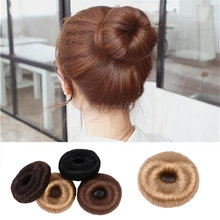 Hot Women Synthetic Fiber Hair Bun Donuts Ring Blonde Hair Extension Wig Drop Shipping Hair Styler Elastic Wrap Holder(China)