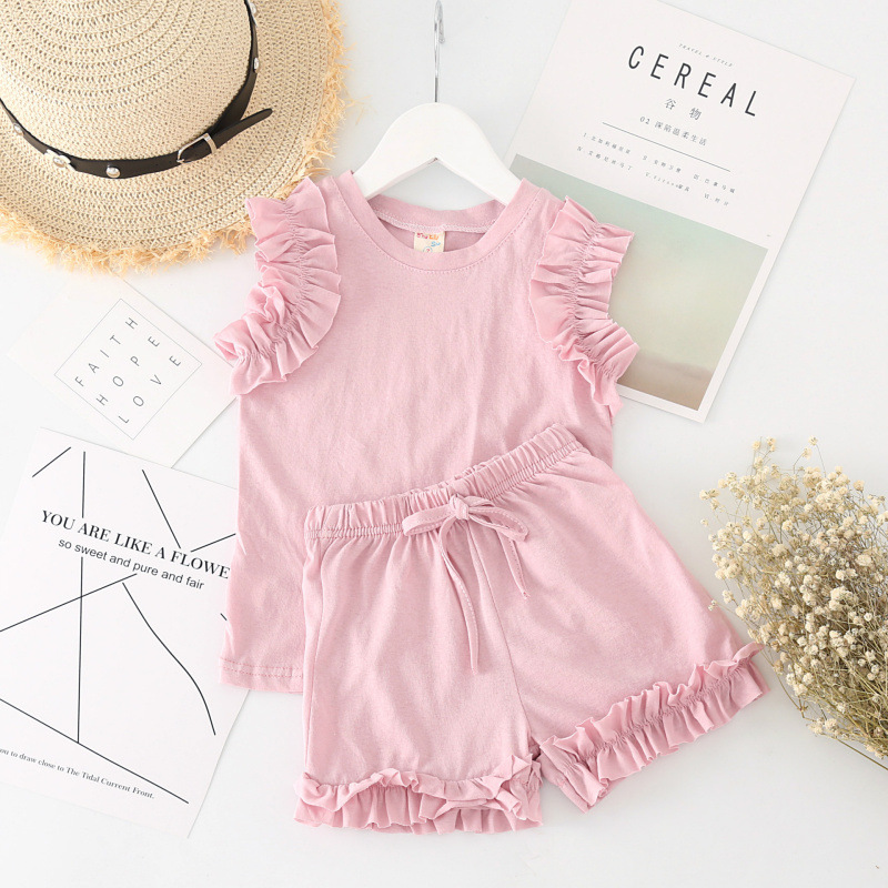 2018 new girls  short-sleeved summer joker two-piece outfits girl clothes