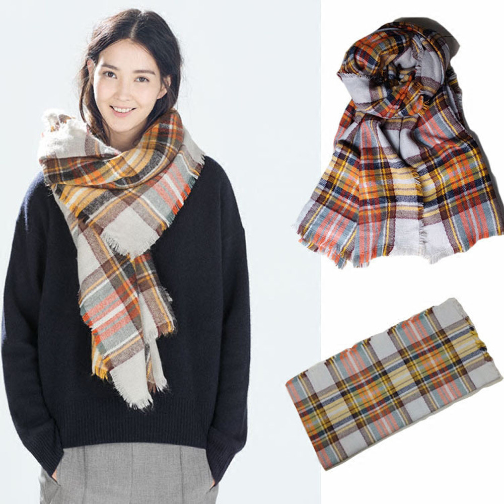 Luxury Brand Scarf 140 140 Oversized Checked Wrap Women Winter Frayed Cashmere Feel Scotish font b