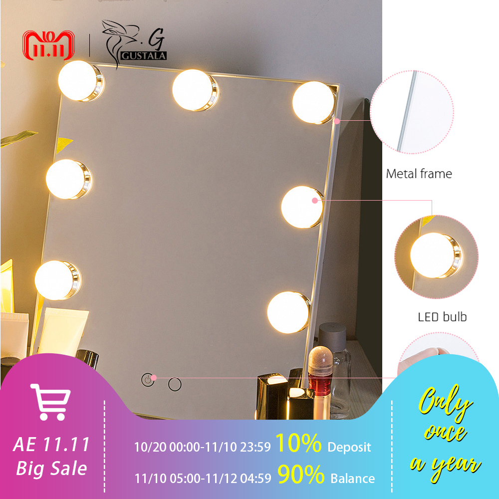 New Arrival Makeup Mirror 7 LEDs Bulbs Dimmable USB Power Vanity Mirror Tabletop Touch Control Cosmetic Mirror With Light dimmable hollywood makeup vanity mirror with light large lighted tabletop cosmetic mirror with 9pcs touch control led bulbs