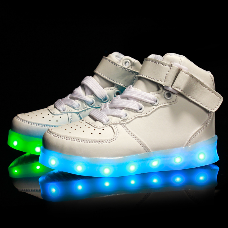 Glowing Sneaker Boys Girls USB Charger LED Shoes High Top Luminous Sneakers Casual Lace Up Unisex Sports Shoes for Children children usb charger luminous shoes lace boys girls led light sneakers fashion kids night show casual shoes brand