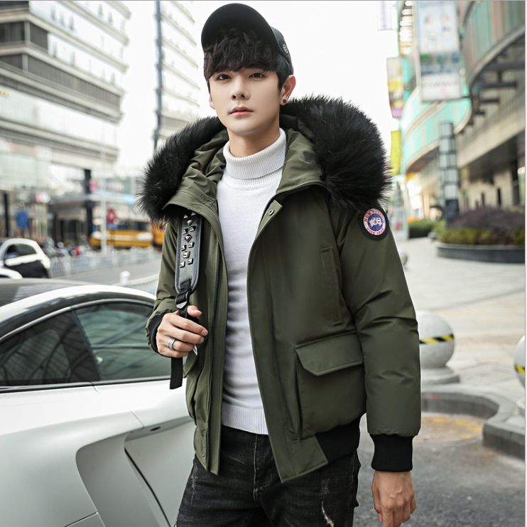 HCBLESS Men's Winter Short Section Thick Warm Cotton Clothing Fashion Trend Youth Hooded Fur Collar Cotton Jacket Cold Jacket