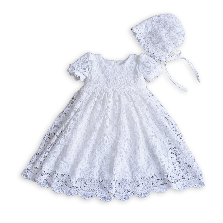 2017 Autumn Winter Baby Girl Baptism Dress Dress hat Shawl White