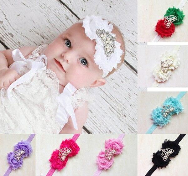 Baby Headband Girl Hairband Christening Tiara Crown Shabby Flowers Rhinestone