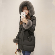 Real Fox Fur Collar Hooded Parka Nice New White Duck Down Long Women's Winter Jacket Thick Warm Female Coat 2 Color S-XXL AW1125
