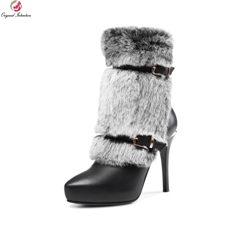 Original Intention Women Elegant Ankle Boots Real Leather Fur Round Toe Thin Heels Boots Black White Shoes Woman US Size 4-8.5 original intention elegant women ankle boots platform round toe thin heels boots black white red shoes woman plus us size 3 16