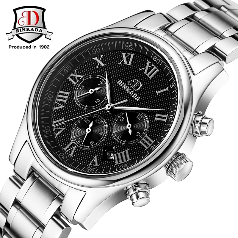 BINKADA Brand Men Mechanical Business Watches Real 3 Eyes 6 Hands Analog Clock Stainless Steel Calendar Relojes Automatic 3ATMBINKADA Brand Men Mechanical Business Watches Real 3 Eyes 6 Hands Analog Clock Stainless Steel Calendar Relojes Automatic 3ATM