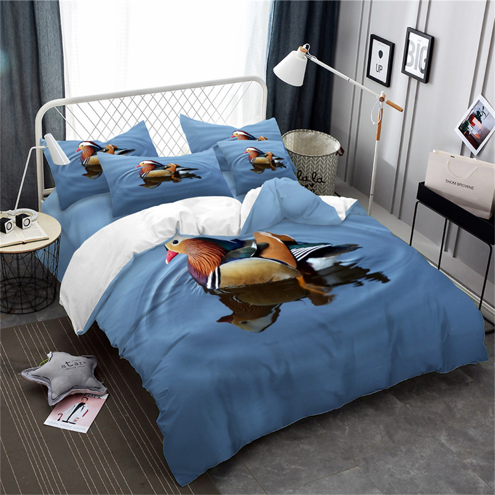 3D Animal Bedding Set Mandarin Duck Blue Lake Print Duvet Cover Set Chinese Style Couples Bed Cover Lovers Bedclothes 3Pcs D35