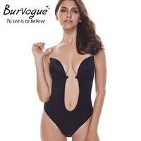 Burvogue Women Bodysuit Backless Deep U Body Shaper Underwear For Wedding Evening Bridal Dress Slimming Black