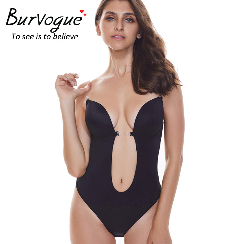 Burvogue Sexy Deep Plunge shapewear Thong Backless Deep U Body Shaper Underwear For Dress Push Up Women Bodysuit Clear Straps