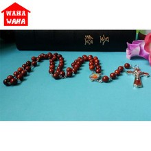 Natural Red Sandalwood 8MM Beads Jesus Cross Prayer Bead Necklace Pendant Handmade Antique Necklace Religion Gifts Home Decor