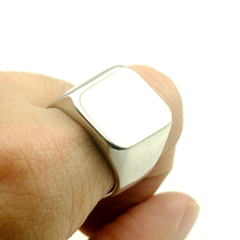 NIENDO Smooth Polished Square Signet Ring Boys Mens Ring 316L Stainless Steel Ring LR037