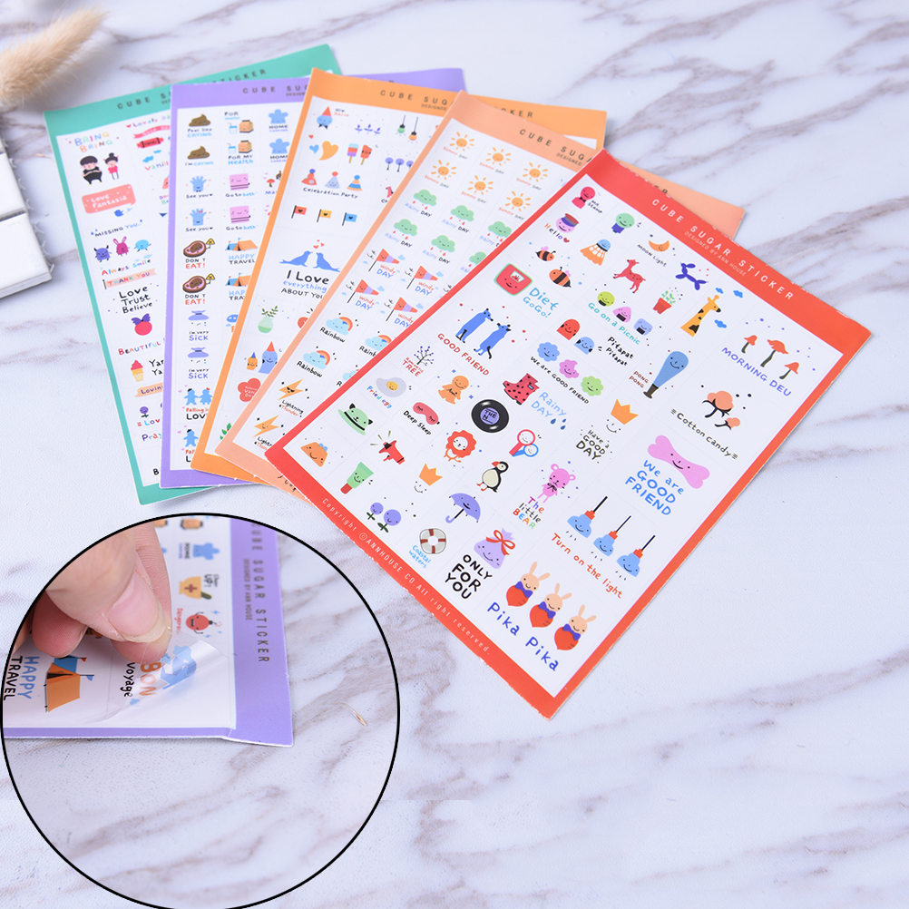Pvc Stickers Cute Transparent Flake Seal Cards For Scrapbooking Diy Diary Calendar Notebook Label Stationery 5 Sheet/set Calendars, Planners & Cards Calendar