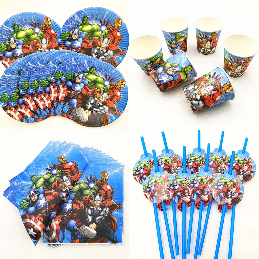 50pcs/set Avengers Kids Birthday Party Supplies Plate Cup Napkin Straw Tableware Baby Shower Superhero Decoration Favors