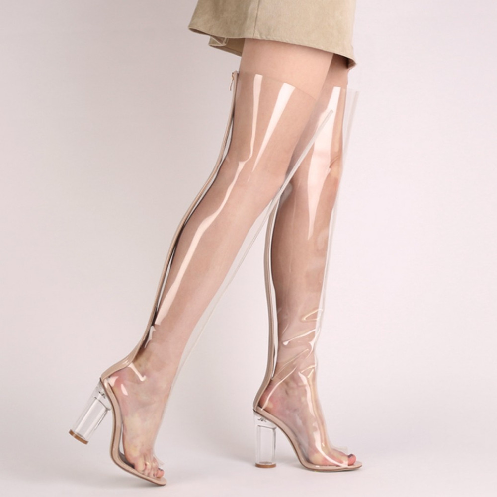 d9b3cd0c11 Stylish Chyna Perspex Long Boots In Clear Peep Toes Transparent PVC Over  Knee Boots Women Tight Boots Block High Heel Boots-in Over-the-Knee Boots  from ...