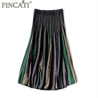 Skirts Women 2018 Spring Summer New Good Quality Viscose Multi Colors Golden Thread Knitted New Fashion Midi Skirt