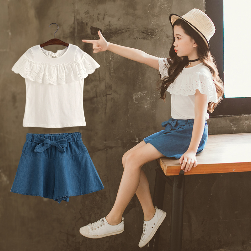 Girls Clothing Sets Summer Fashion White T-shirts and Shorts Sets 4 10 12 14 Years Kids Clothing Sets Children Denim Clothing 貓 帳篷