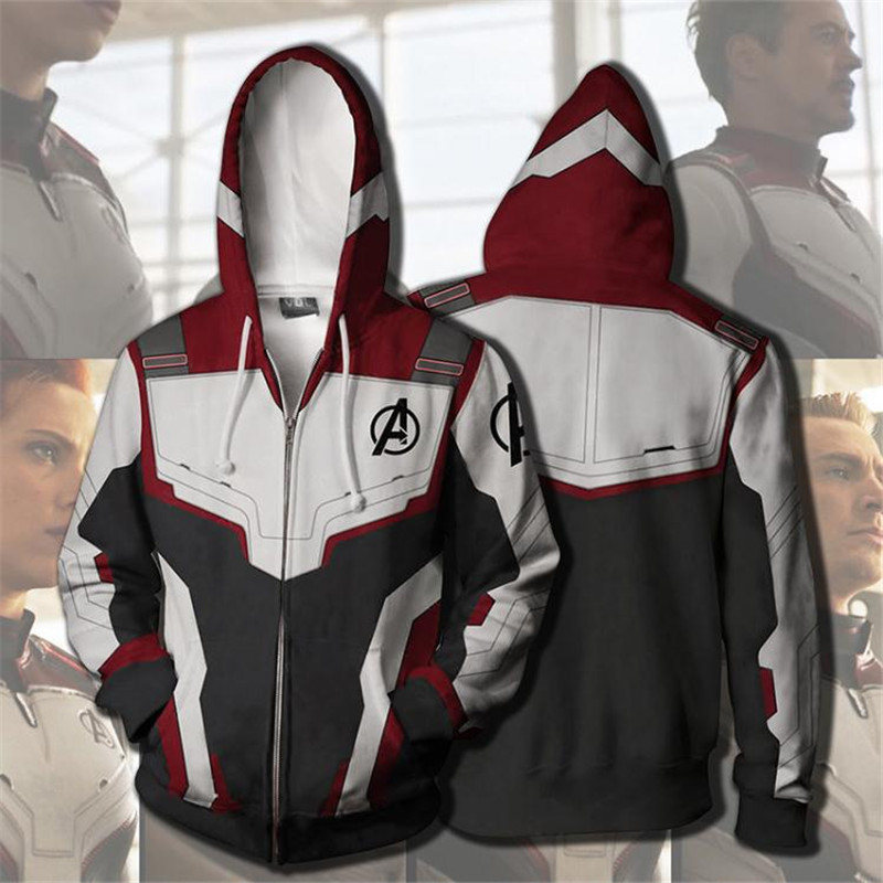 Superhero Avengers Endgame Quantum Realm Sweatshirt Hoodie Jacket Advanced Tech Cosplay Costumes Iron Man Zipper Suit Men Women