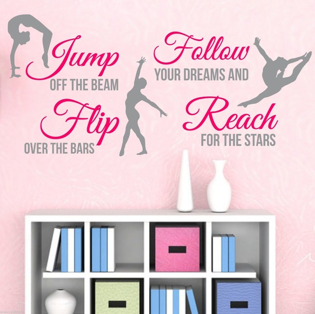 Free Shipping Gymnastics Dance Vinyl Wall Stickers Living Room Mural Art  Home Decoration Girl Room Wall