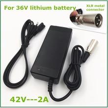 Ładowarka litowo-jonowa 36V 42V2A ładowarka akumulatorów litowych do akumulatora litowego 36V z gniazdem XLR złączem dobrej jakości tanie tanio Jnenconn CN (pochodzenie) Elektryczne JN-L10S2A Standardowa bateria original lithium battery pack 100-240V AC 50-60HZ Short circuit Overload Over voltage