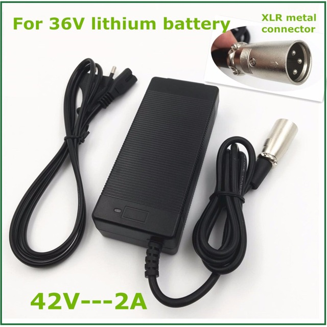36V Li ion şarj cihazı 42V2A elektrikli bisiklet lityum pil şarj cihazı için 36V lityum pil ile XLR soket/konnektör iyi kaliteli