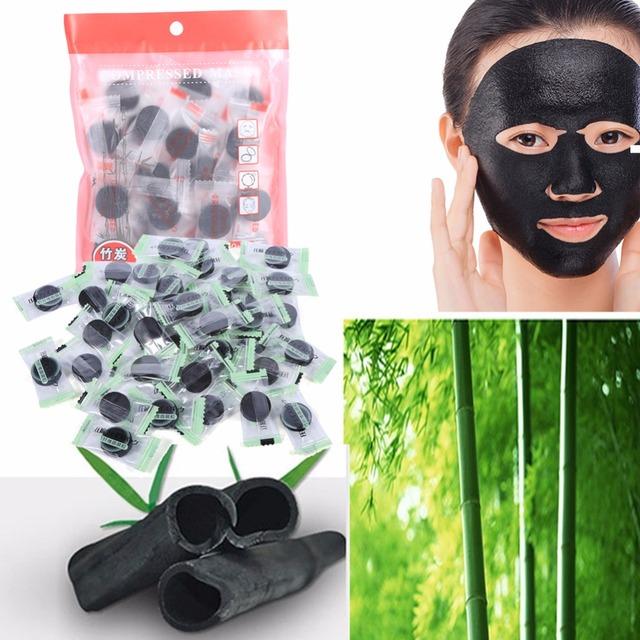 30/40 pcs nero mascherina della carta compressa carta maschera facciale carbone di bambù naturale della fibra cura viso fai da te gara sbiancamento maschera lenzuola