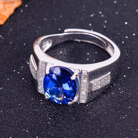 Coated tanzanite color topaz 8*10mm ring in 925 silver men's ring in topaz ,925 silver men ring with gift box,for men's gift