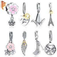 DIY Original Jewelry Pendant Beads Authentic 925 Sterling Silver Heart Love Dangle Charm Crystal Four Clover