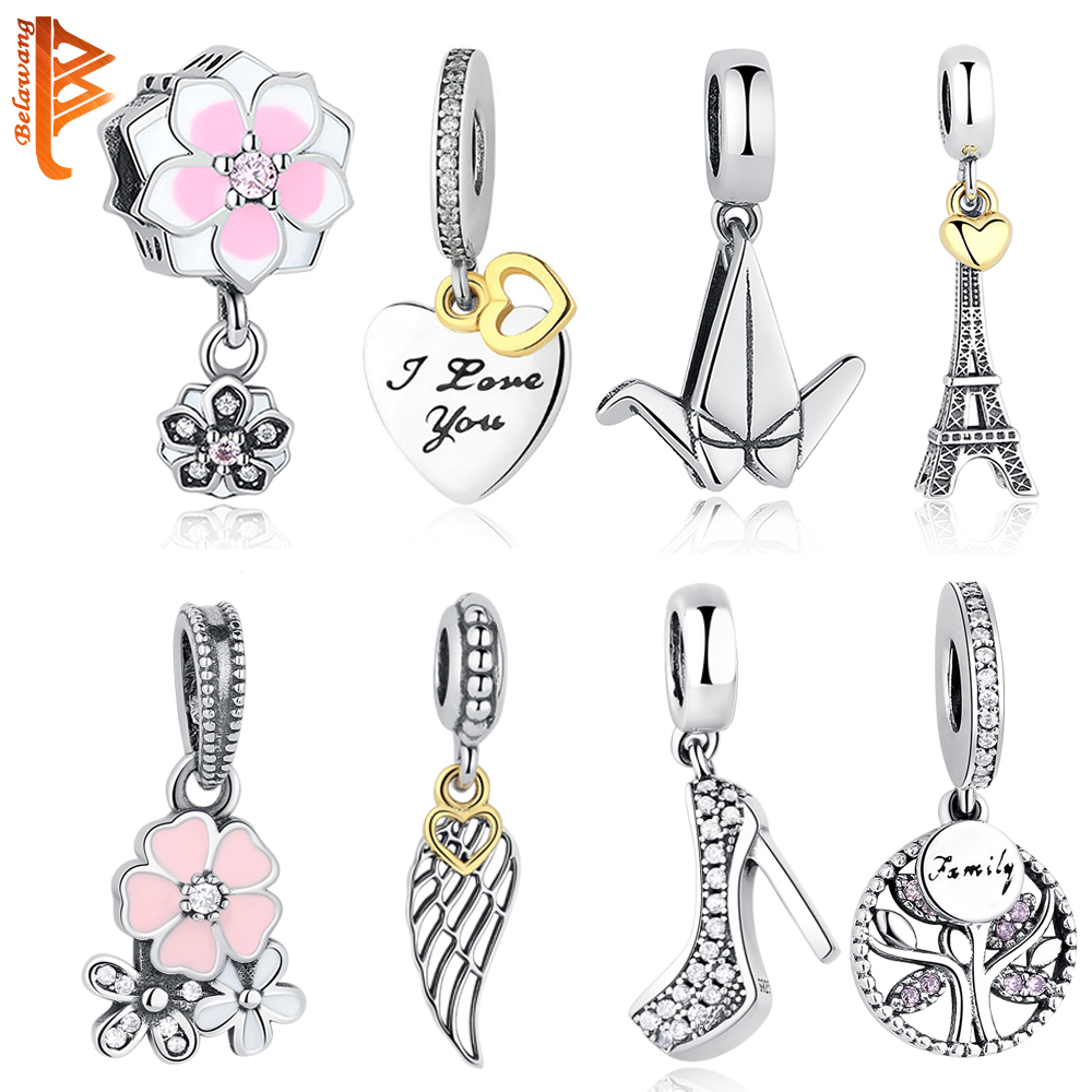 DIY Silver Charm Fit Original Pandora Bracelet Beads 925 Sterling Silver Love Dangle Charm Crystal Heart ,Flower,Tower,Tree Bead strollgirl car keys 100% sterling silver charm beads fit pandora charms silver 925 original bracelet pendant diy jewelry making