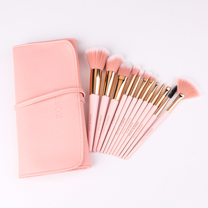 Image 4 - ZOREYA 12pcs Professional Makeup Brushes Super Soft Synthetic Hair Pink Handle Make Up Brush Blending Concealer Lip Beauty Tools