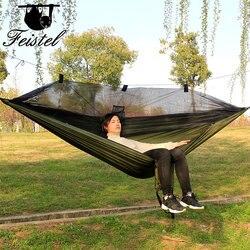 Rede de mosquito dormir rede grande 300 cm acampamento rede 2 pessoas portátil paraquedas 210 t náilon