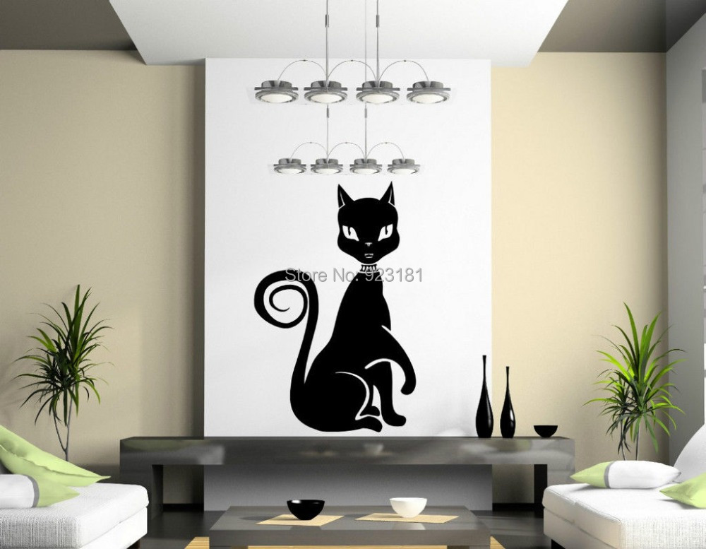 Hot Large Cute Egyptian Cat Beautiful Wall Art Stickers Decal DIY Home Decoration Wall Mural Removable Bedroom Stickers 60x90cm
